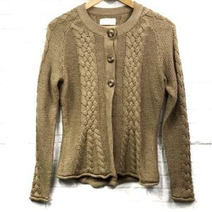 Sonoma Brown Chunky Cable Knit Cardigan Small